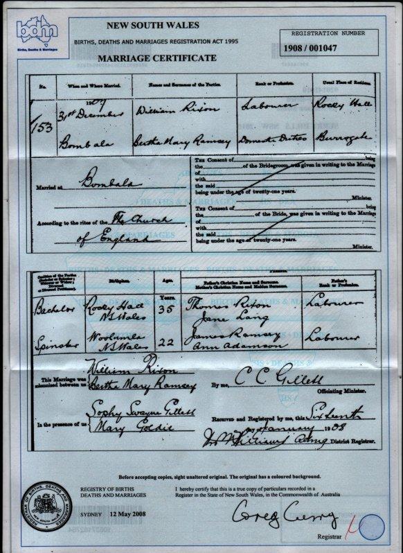 William Rixon marries Bertha Ramsay