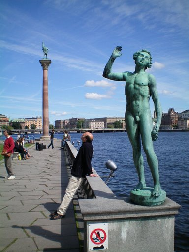 Statues outside Stockholm Town Hall
