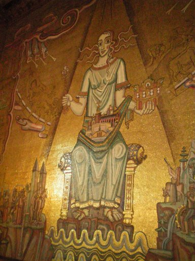 Controversial mural inside Stockholm Town Hall