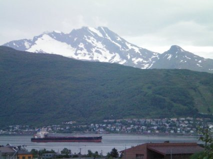 Snow on the peaks in the middle of summer. Narvik, Norway.