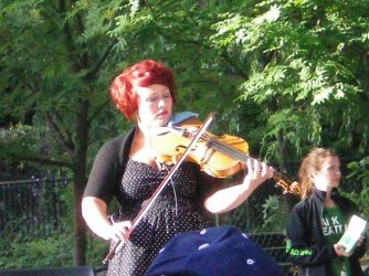 Musicians play in the park in Stockholm