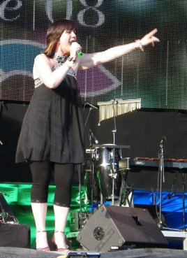 Nikki French on stage as she plays at Europride, Stockholm