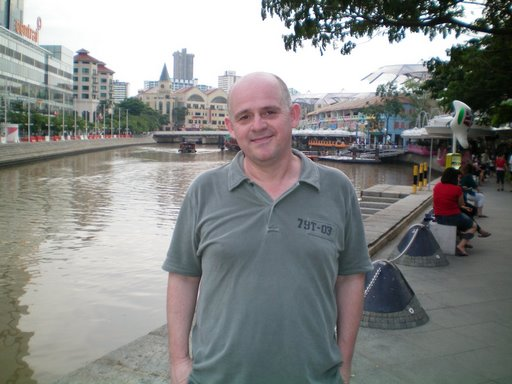 "Visiting Singapore, near their ""Southbank"" style development."