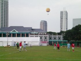 Playing soccer in Singapore