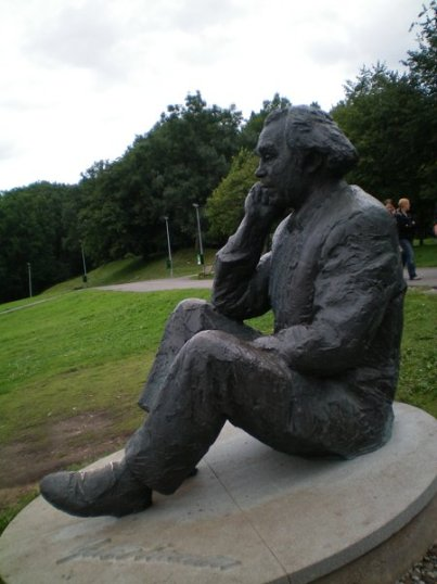 Statue of famous Estonian composer overlooking the Song Festival Theatre in Tallinn.