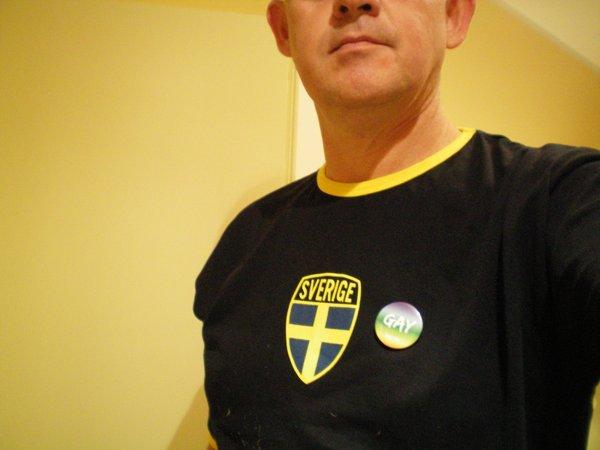 Swedish T-Shirt and Estonian Gay Badge