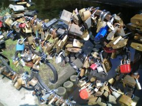 Wedding locks on a bridge, Riga