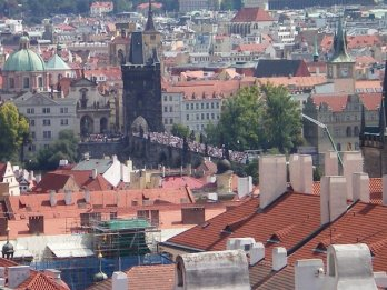 Check out all the tourists on the Charles Bridge, Prague
