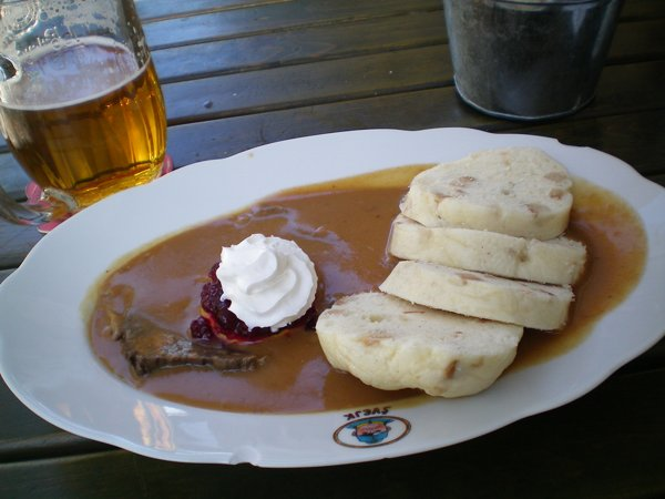 For about 125 check crowns ($8 or so Australian) I had a classic Czech dish, Knedliky.