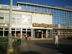 """On the outside, the architecture of the swimming baths had a decidedly """"Soviet"""" feel about it."""