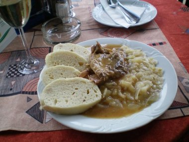 Lunch was roast pork with dumplings.