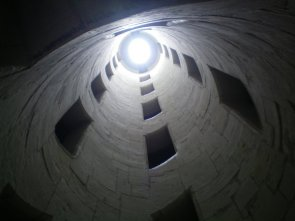Inside the double staircase at Chambord Castle, France