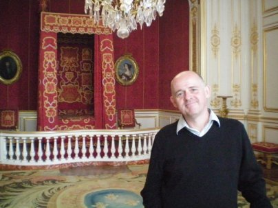 James in a bedroom fit for a king or queen at Chambord Castle, France