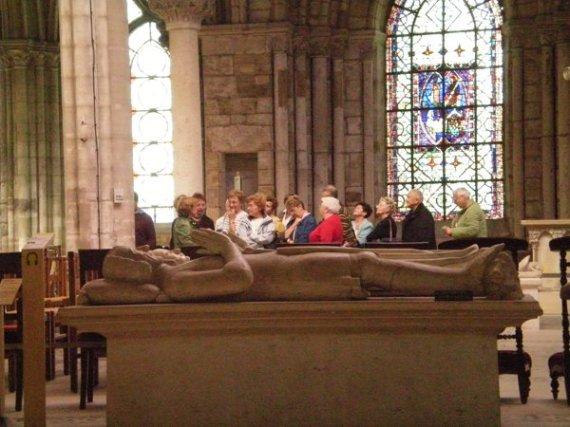 Tourists inspect the dead at Basilique Saint-Denis