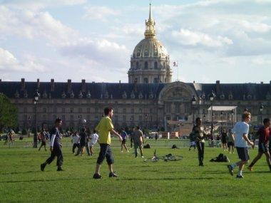 Soccer match outside Les Invalides