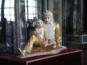 MIchael Jackson and Bubbles by Jeff Koons on display at Versailles, France.