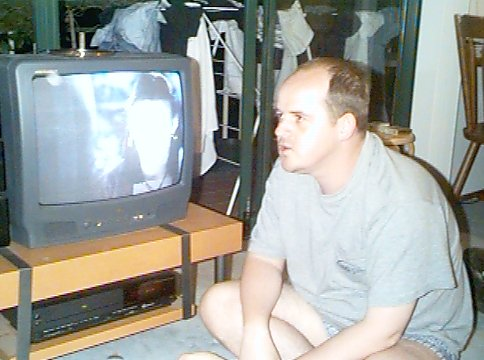 Watching television in October 1998.