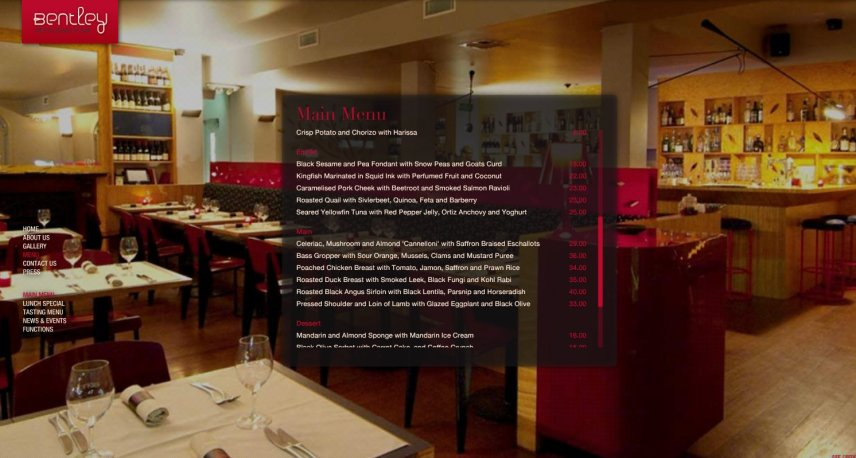 Bentley Bar Restaurant Menu and Web