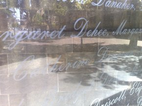 Irish Famine Memorial in Sydney : the names of some of the young women who came to Australia as Assisted Immigrants are engraved in a large glass plate.