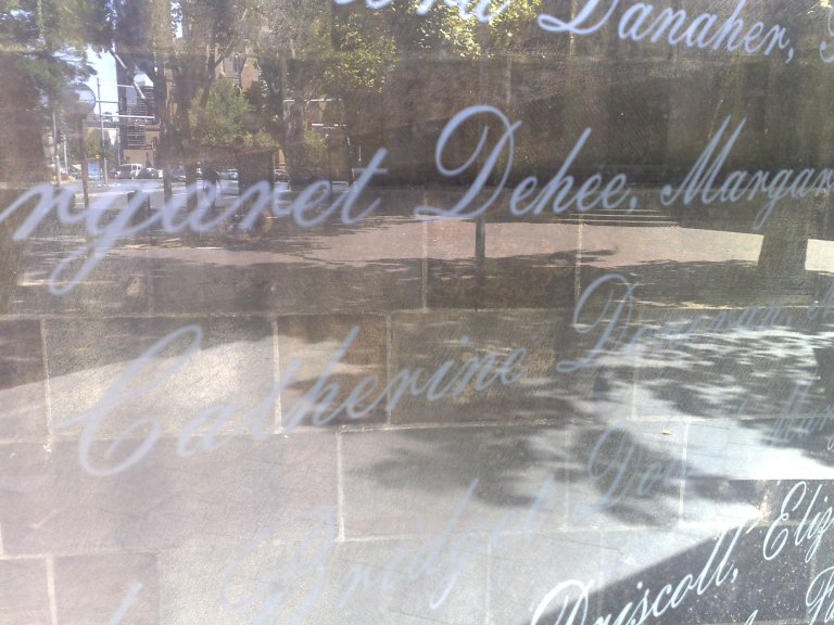 the names of some of the young women who came to Australia as Assisted Immigrants are engraved in a large glass plate.