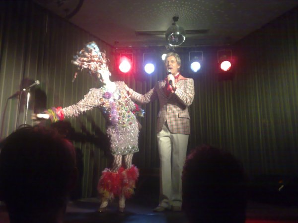 Bob Downe and friend at The Supper Club on Oxford Street, Sydney