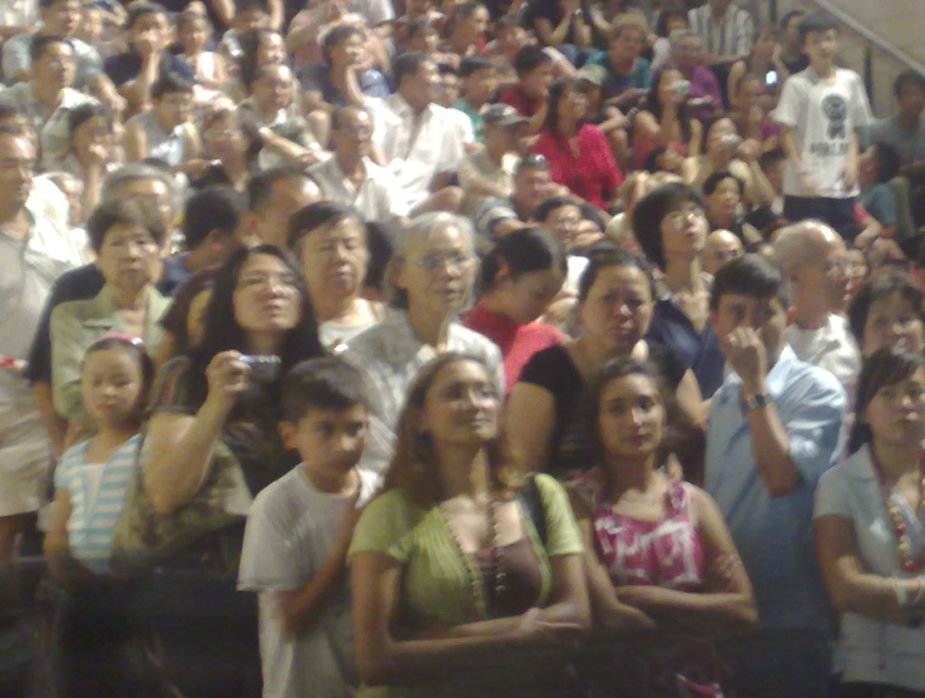 Some of the crowd watching the Chinese New Year parade on the steps of the World Tower in Sydney.