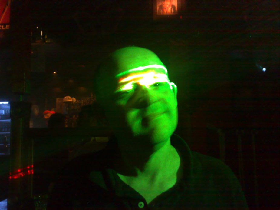 Enjoying the laser lights at The Clarence on Parramatta Road.