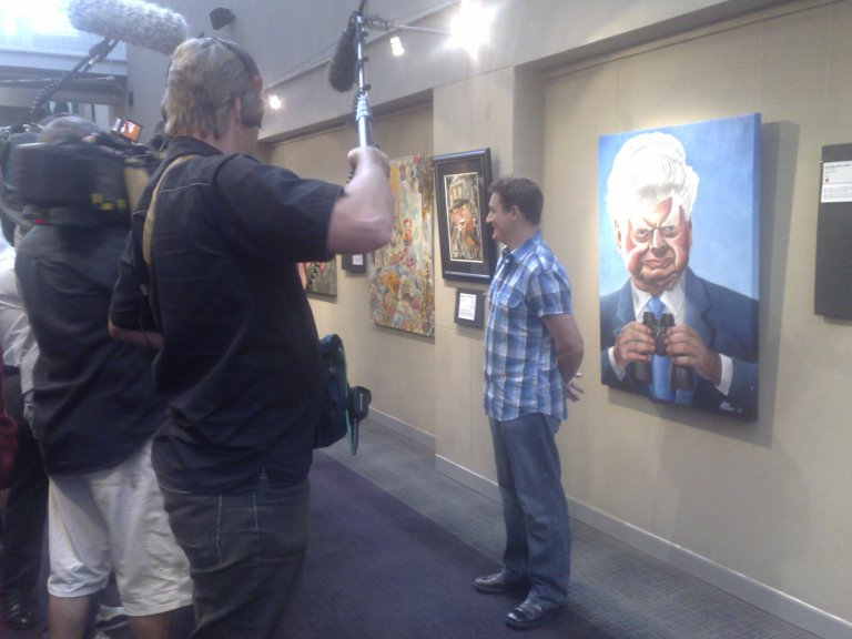 There was a lot of media interest in the 2009 Bald Archy Prize Winner, James Brennan and his portrait of Bart Cummings.