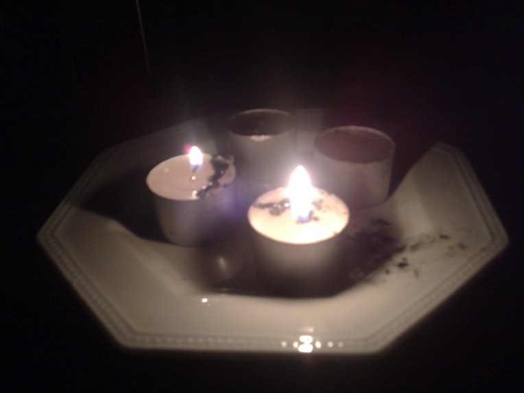 My pathetic attempt at having some light in the midst of the blackout.