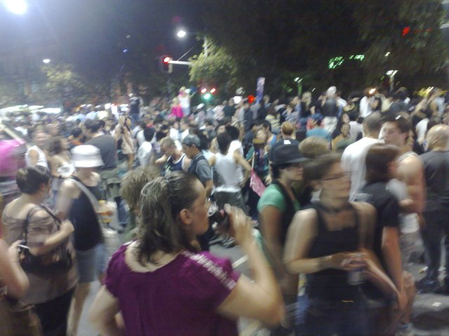 The crowd around Crown Street for Mardi Gras.