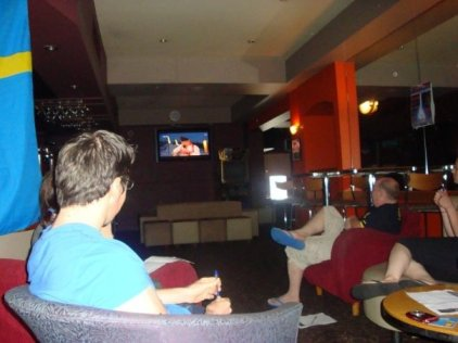 Watching Melodifestivalen at the Lewisham Hotel.