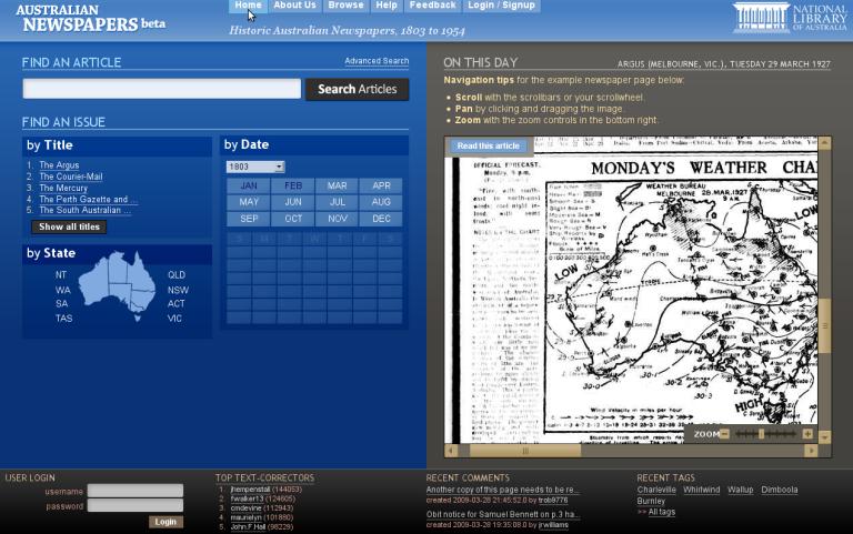 Historic Australian Newspapers, 1803 to 1954