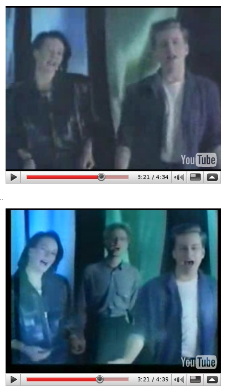 Frida from ABBA sings with Swedish group, Ratata back in the late 1980s. Note the difference between the Swedish and English version video clips where one of the blokes in the band is absent for much of the Swedish language version of the clip.
