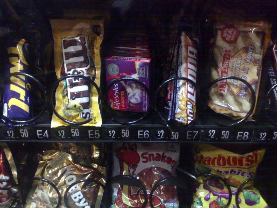 Condoms in vending machine