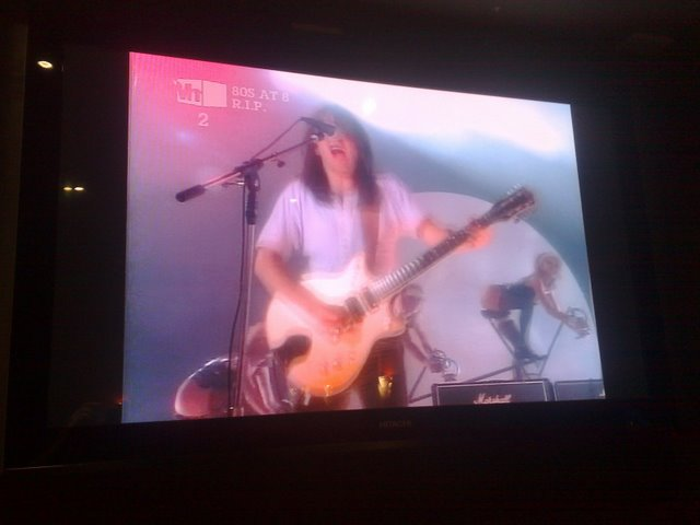 Video clip for You Shook Me All Night Long on the big screen at the Lewisham Hotel. This guy from AC/DC is not dead either.