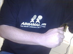 Busting a move in my ABBAMAIL T-Shirt