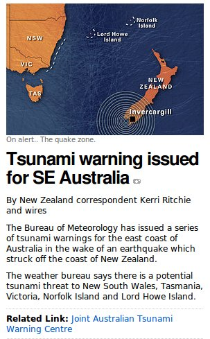 Tsunami Warning - ABC Website