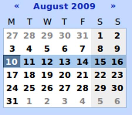 Calendar for August 2009