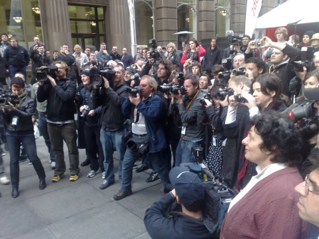 Shooting the group photo for the digital radio launch in Sydney.