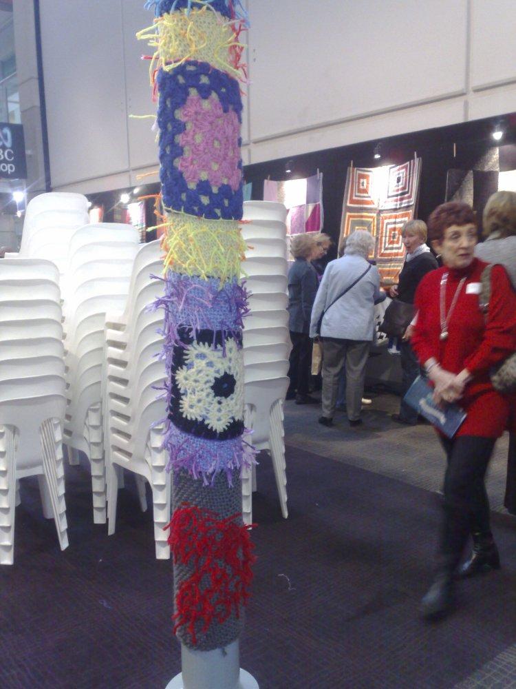 Guerilla knitting on light poles at the ABC in Sydney.