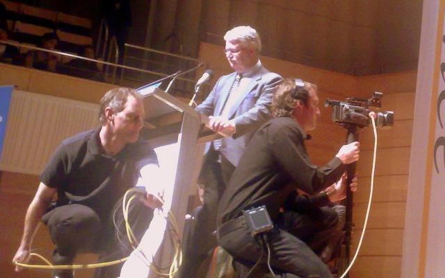 Simon Longstaff and camera crew.