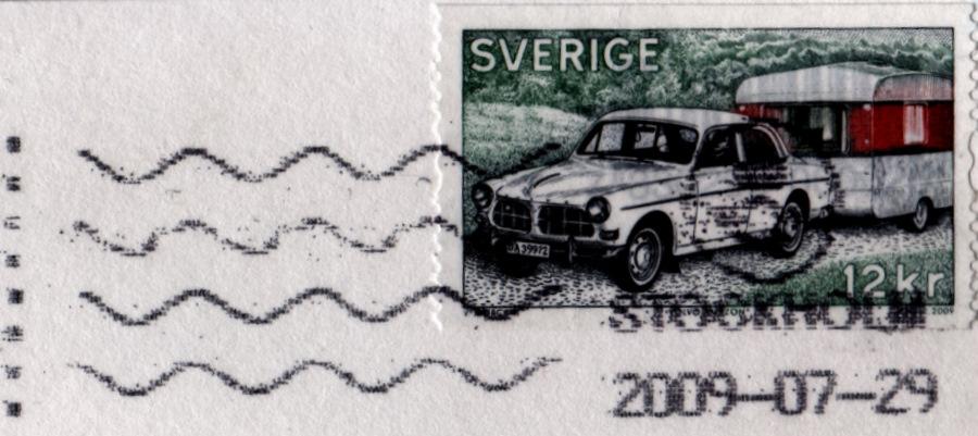 Stamp on Swedish postcard, sent July 2009