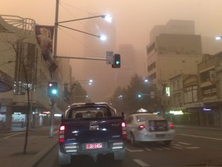 Early in the morning on George Street Sydney during the dust storm