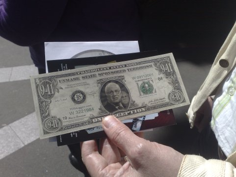 A faux US dollar bill in protest at American foreign policy.