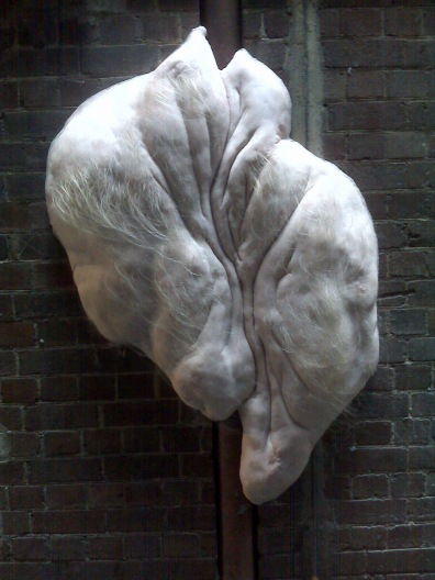 Hairy, human like installation with a corresponding heartbeat in Laneways. Loved it!