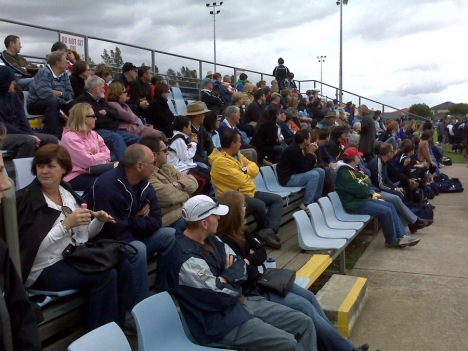 The crowd watches at Valentine Park