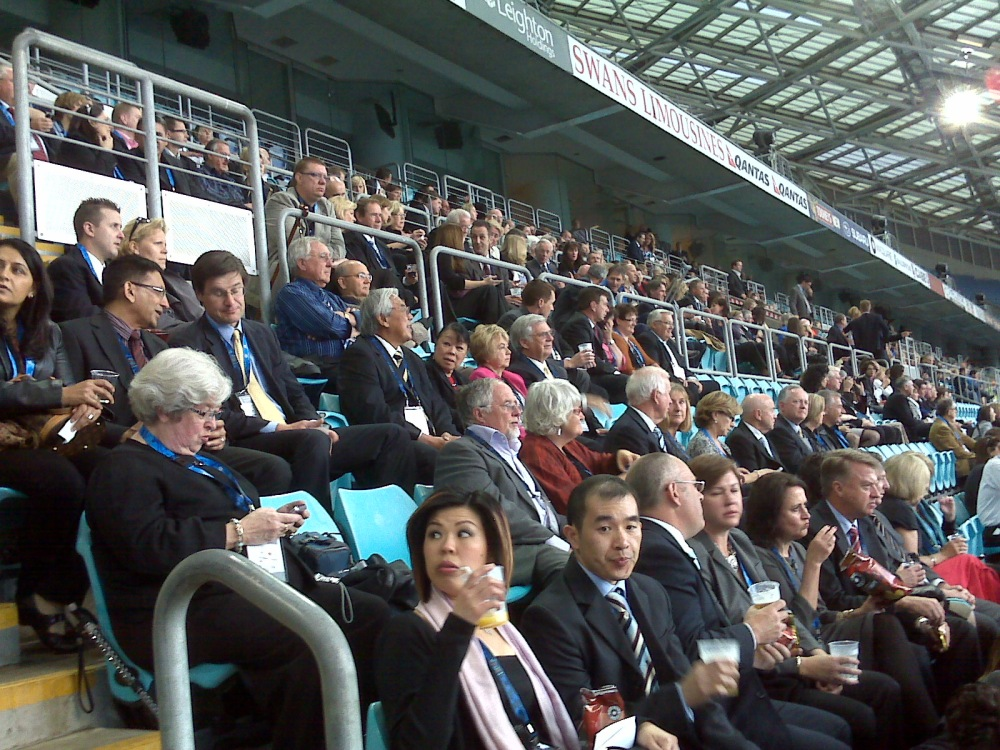 The VIP Crowd awaits the opening ceremony of the games.