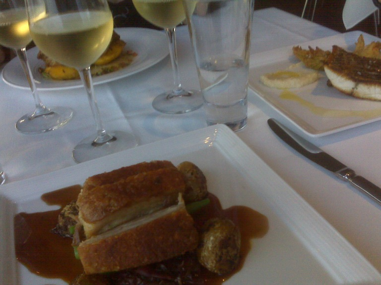 About to eat pork belly for dinner at the Wanda Surf Live Saving Club Restaurant