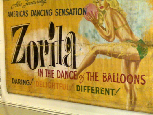 Zorita and her balloons in the museum at Glenelg