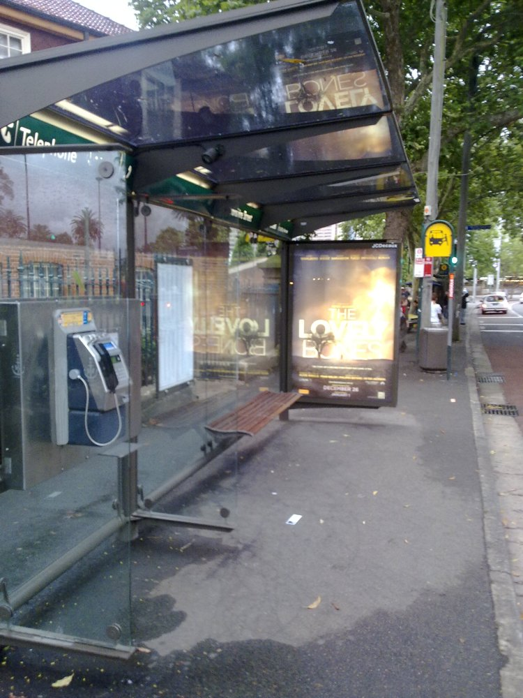 Empty Bus stop on the day of the Sydney Bus Strike
